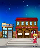 Illustration of a kid standing before a locksmith and fire station