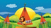 Illustration of a lion inside a tent