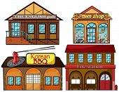 Illustration of an English pub, Korean restaurant, pawnshop, and fire station on a white background