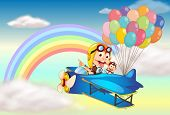 Illustration of two monkeys riding on a plane and a rainbow