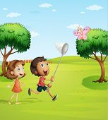 Illustration of kids trying to catch a butterfly in the garden