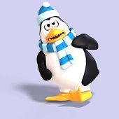 image of growler  - male toon enguin with hat and scraf and clipping path - JPG