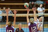 KAPOSVAR, HUNGARY - JANUARY 27: Zsanett Pinter (in white) in action at the Hungarian I. League volle