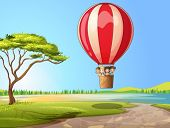 Illustration of kids in a air balloon in a beautiful nature