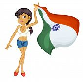 Illustration of a smiling girl with a national flag of India on a white background