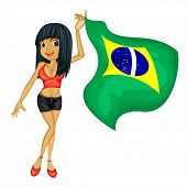Illustration of a smiling girl with a national flag of Brazil on a white background