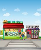 Illustration of a boy with balloons and a girl eating an ice cream near the burger junction and newstand