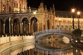 Plaza de Espana in Sevilla at night, Spain. Panoramic reflected in the canal