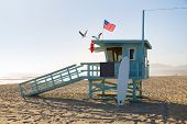 foto of lifeguard  - Santa Monica beach lifeguard tower in California USA - JPG