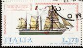 ITALY - CIRCA 1977: a stamp printed in Italy shows image of  Paddlesteamer Ferdinando Primo (Italian