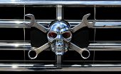 Metal Chrome Skull As The Jolly Roger