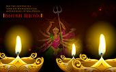 stock photo of navratri  - illustration of goddess Durga in Subho Bijoya  - JPG