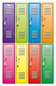 Vector Set Of  Metal School Lockers