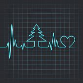 Illustration of heartbeat make christmas tree and heart
