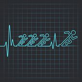 Illustration of heartbeat makes running men