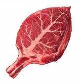 stock photo of hormones  - Organic meat and natural food as a raw steak in the shape of a green leaf as a symbol for responsible agriculture and grass fed antibiotics and hormone free organically grown healthy protein source from a certfied beef farm - JPG