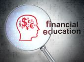 Education concept: Finance Symbol and Financial Education with o