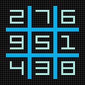 8-bit Pixel Art Magic Square With Numbers 1-9
