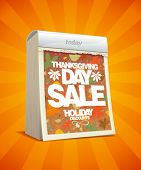 Thanksgiving day sale design in form of tear-off calendar. Eps10