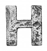 Metal alloy alphabet letter H