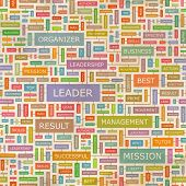 LEADER. Concept vector illustration. Word cloud with related tags and terms. Graphic tag collection. Wordcloud collage.