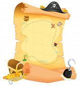 stock photo of pirate hat  - Illustration of a brown treasure map on a white background - JPG