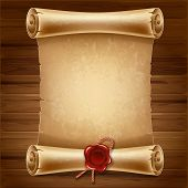 Vertical old scroll paper on wooden background with space for your text