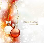 Christmas background with two Christmas baubles
