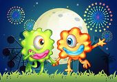 Illustration of the two monsters at the carnival under the bright fullmoon