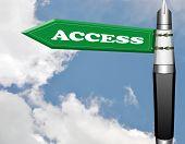Access road sign with fountain pen pillar