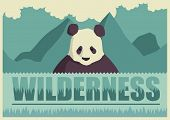 Retro poster with panda. Vector illustration.