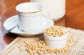 foto of soybean milk  - freshly brewed soybean milk made from fresh soybeans - JPG