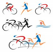 stock photo of swimming  - Icons symbolizing triathlon - JPG