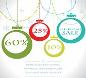 Christmas sale balls with snowflake. Vector illustration.