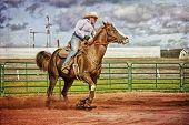 picture of barrel racer  - Western horse and rider competing in pole bending and barrel racing competition with texture - JPG