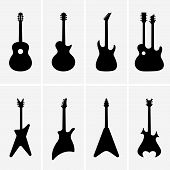 picture of guitar  - Set of different guitar icons on the light grey background - JPG