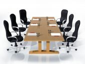 picture of business meetings  - Illustration of six chairs around a table ready for a meeting - JPG