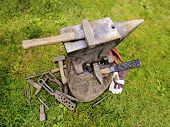 foto of blacksmith shop  - Equipment which is used by a blacksmith do his metal work.