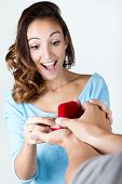 Young Woman Accepts An Engagement Ring