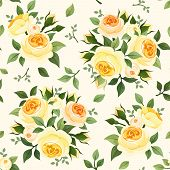 pic of english rose  - Vector vintage seamless pattern with yellow English roses - JPG