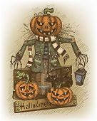 Halloween illustration drawn by hand