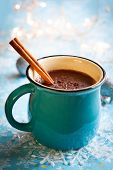 stock photo of cinnamon sticks  - Hot chocolate with  marshmallows and cinnamon stick - JPG