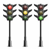 stock photo of light-pole  - Black Traffic Lights On Pole - JPG