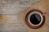 image of hot coffee  - Coffee cup on wooden table texture - JPG
