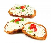 Sandwiches with cottage cheese and greens isolated on white