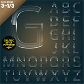 Vector illustration of Glass font powered graphic styles. Set  3-