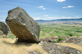 stock photo of parallelepiped  - parallelepiped rocky block in Marko - JPG