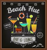 Chalkboard Beach Bar Poster - Colorful cocktails on blackboard advertisement for beach bar and lounge, with frames, swirls, labels and specials