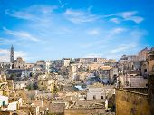 Panoramic View Of Stones Of Matera Under Blue Sky
