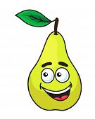 Happy grinning ripe pear fruit